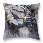 Jazz Saxophonist Charlie Parker Throw Pillow by Yuriy  Shevchuk