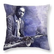 Jazz Saxophonist John Coltrane 03 Throw Pillow by Yuriy  Shevchuk