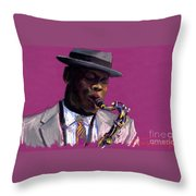Jazz Saxophonist Throw Pillow