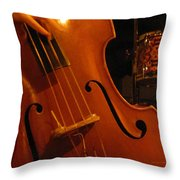 Jazz Upright Bass Throw Pillow