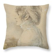Jean-baptiste Isabey  1767 - 1855  Portrait Of Josephine In Malmaison Throw Pillow