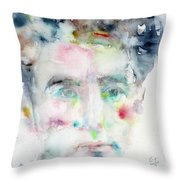 Jean Cocteau - Watercolor Portrait.2 Throw Pillow