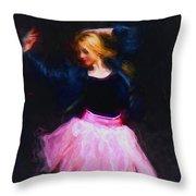 Jean Jacket Ballerina Throw Pillow