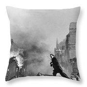 Jeanne Arc School On Fire Throw Pillow