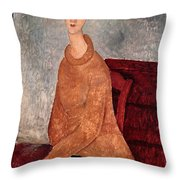 Jeanne Hebuterne In A Yellow Jumper Throw Pillow