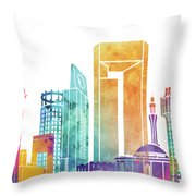 Jeddah Landmarks Watercolor Poster Throw Pillow