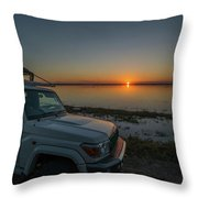 Jeep Driver Watching Sunset Over Peaceful River Throw Pillow
