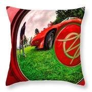 1949 Willis Jeepster Logo Hubcap193 Throw Pillow