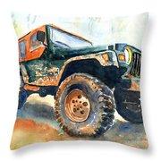 Jeep Wrangler Watercolor Throw Pillow