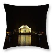 Jefferson Memorial At Night, Reflected Throw Pillow
