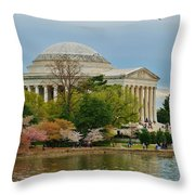 Jefferson Memorial, Springtime In Dc Is When Things Bloom, Like The Japanese Cherry Trees Throw Pillow