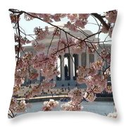 Jefferson Through The Cherry Blossoms Throw Pillow