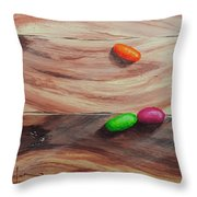 Jelly Beans On Wood Throw Pillow