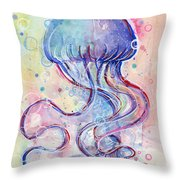 Jelly Fish Watercolor Throw Pillow
