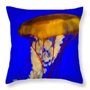 Jellyfish In Blue Waters Throw Pillow