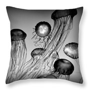 Jellyfish In Monochrome Throw Pillow