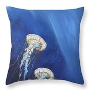Jellyfish In Unison Throw Pillow