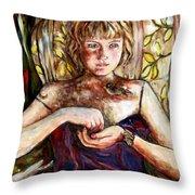 Girl And Bird Painting Throw Pillow
