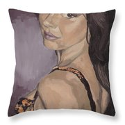 Jenny In Black Throw Pillow