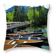 Jenny Lake Boats Throw Pillow