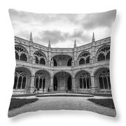 Jeronimos Monastery Cloister Lisbon Throw Pillow