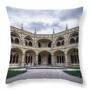 Jeronimos Monastery Cloister Throw Pillow