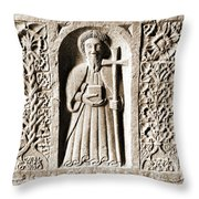Jerpoint Abbey Weepers Saints James Philip And Matthias County Kilkenny Ireland Sepia Throw Pillow