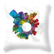 Jersey City Small World Cityscape Skyline Abstract Throw Pillow