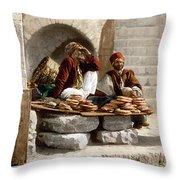 Jerusalem - Bread Seller Throw Pillow