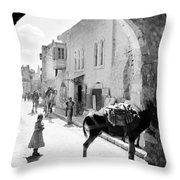 Jerusalem Street In 1914 Throw Pillow