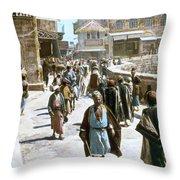 Jerusalem Street Scene Throw Pillow