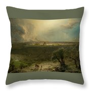 Jerusalem View From The Mount Of Oliv Throw Pillow