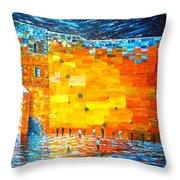 Jerusalem Wailing Wall Original Acrylic Palette Knife Painting Throw Pillow