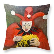 Jester And Spaghetti Throw Pillow