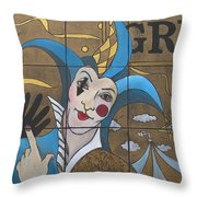 Jester In Blue Throw Pillow