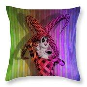 Jester Rainbow Girl  Throw Pillow