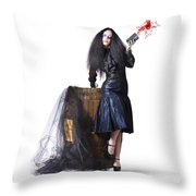 Jester With Wine Barrel Throw Pillow by Jorgo Photography - Wall Art Gallery