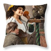 Jesters With Monkey Throw Pillow