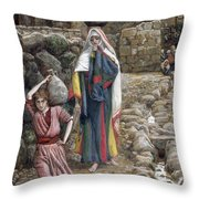 Jesus And His Mother At The Fountain Throw Pillow