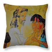 Jesus And The Children Throw Pillow