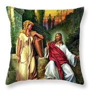Jesus And The Woman At The Well Throw Pillow