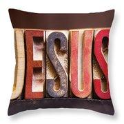 Jesus - Antique Letterpress Letters Throw Pillow