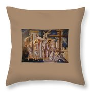 Jesus Arrest And Preparation For Crucifiction Throw Pillow