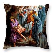 Jesus Burial Throw Pillow