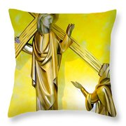 Jesus Carries The Cross Throw Pillow