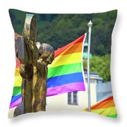 Jesus Christ Crucifixion And Gay Pride Flags View Throw Pillow