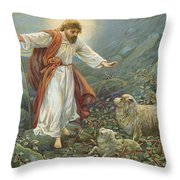 Jesus Christ The Tender Shepherd Throw Pillow