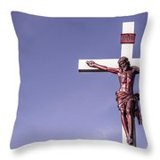 Jesus Crucifix Against The Sky Throw Pillow
