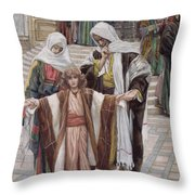 Jesus Found In The Temple Throw Pillow by Tissot