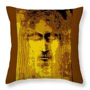 Jesus Image Golden Yellow Throw Pillow